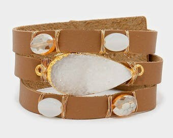 Druzy and Natural Stone Faux Leather Cuff Bracelet