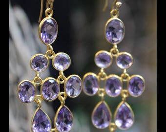 Earrings 18 k Yellow gold plated Daina adorned with Amethyst