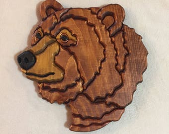Grizzly Bear Head Intarsia Carving