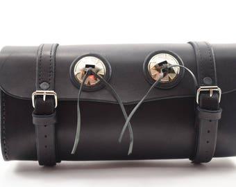 Black leather Fork Bag
