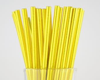 Gold Foil Paper Straws - Party Decor Supply - Cake Pop Sticks - Party Favor