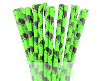 Green/ Black Paper Straws - Mason Jar Straws - Party Decor Supply - Cake Pop Sticks - Party Favor