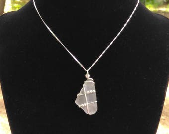 Sterling silver and Sea glass necklace! 100% authentic sea glass, hand gathered. One of a kind unique piece!