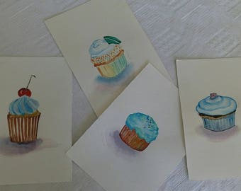 Original watercolor set of cupcakes