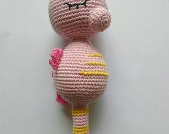 Rattle amigurumi crochet cotton, Pink Pony marino, soft toy, baby gifts, plush stuffed animal plush, handmade, kids