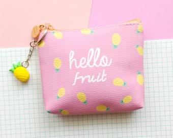 Pineapple fruit pink coin purse with handmade polymer clay keyring, mini zipper bag, kawaii purse, credit card holder, coin wallet