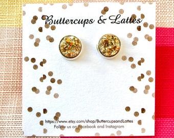 Gold Druzy Stud Earrings 10mm