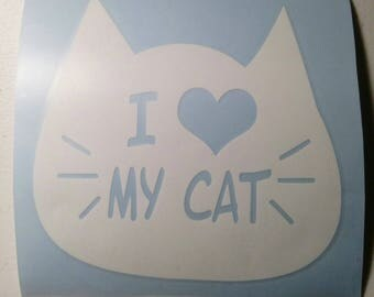 I Love My Cat Vinyl Decal - Great For Auto Windows, Coolers, Laptops
