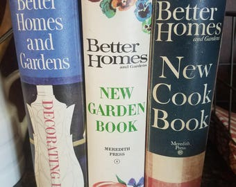 Vintage Better Homes & Gardens New Cookbook, New Garden Book, and Decorating Book