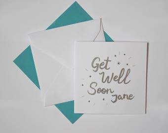 Get Well Soon Card - Custom Name