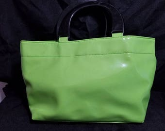 Lime green vinyl bag