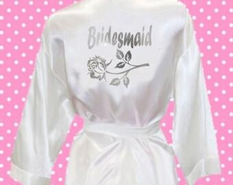 Chrome print Bridesmaid  silk satin style kimono robe dressing gown married bridal party