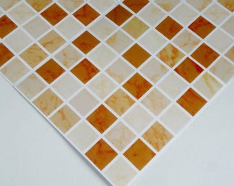 Pack of 10 brown marble effect mosaic tile stickers transfers, with added gloss affect, just peel and stick, bathroom kitchen