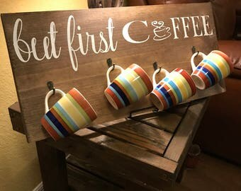 but first coffee, coffee decor, kitchen decor, rustic kitchen, but first coffee sign with hooks
