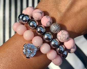 The Monaco Pink beaded bracelet Set