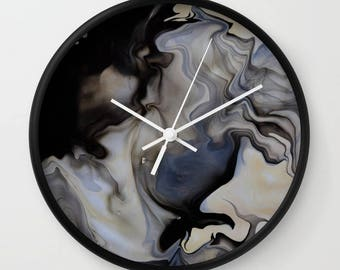 Wall Clock, Original Art Print Clock, Interior - Smoke Swirl. Custom Order, Pre Order