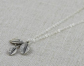 Leaf Necklace, FREE SHIPPING, Leaf Pendant, Necklace, Best Friend Jewelry, Silver Necklace, Silver Pendant Necklace, Leaf Silver Jewellery