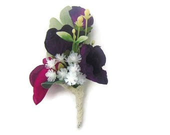 Gypsophila and Sweet Pea Buttonhole, Silk Corsage,  Artificial Boutonniere, Free Delivery