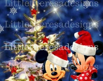 Mickey and Minnie Christmas Tree Transfer,Digital Transfer,Digital Iron On,Diy