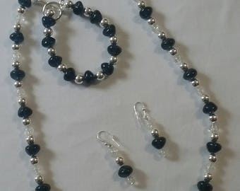 Large Blue Pebble with Silver beads (#61)