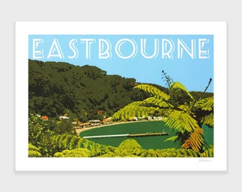 Eastbourne Print, Wellington, New Zealand Art, Travel Poster, Retro, Wall Art, Beach Print, Ferns, NZHolidayArt