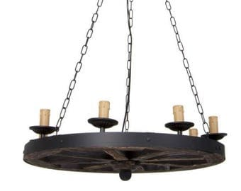 Wooden Round Chandelier - Metal Pendant Lights - Vintage look lamp with chains