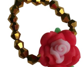 Gold Crystal And Red And Pink Rose Beaded Stretchy Ring