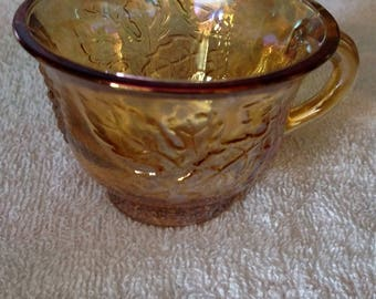 Set Of Five Marigold/Amber Carnival Glass Cups