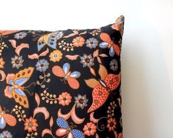 black, red and blue floral butterfly batik decorative pillow cover | cushion cover | pillow sham | throw pillow cover