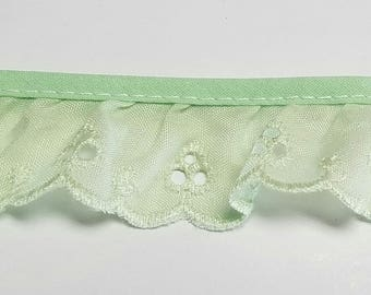 "Eyelet lace ruffled fabric Sewing Lace trim pink 1"" for baby clothes, blankets and accessories"