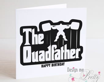 Gym Humour Birthday Card - THE QUADFATHER Bodybuilding muscles