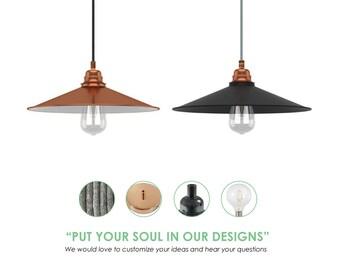 Metal Shade Pendant Light. Antique Pendant Light. Nordic Light Fixture. Enamel Metal Lampshade.