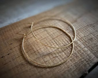 Gold Hoop Earrings / Hammered Hoops / Thin Gold Hoop Earrings