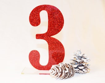 Glitter Table Numbers | Wedding Table Numbers | Party Decor | Standing Numbers | Centerpieces| Acrylic |