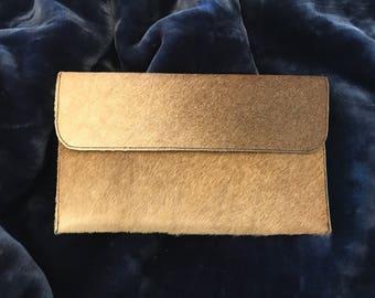 Beautiful Cow Hide Leather Clutch - Purse - Wallet