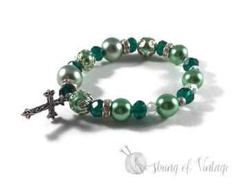 Elastic Beaded Bracelet - Cross Charm - Green - Silver - Customizable