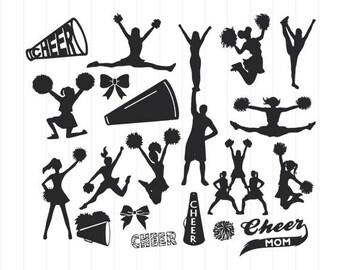 INSTANT DOWNLOAD - Cheerleader Svg Bundle, Cheerleader Clipart, Cheerleader Cut Files, Cheerleader Svg, Cheer Cut Files, Cheerleader Files