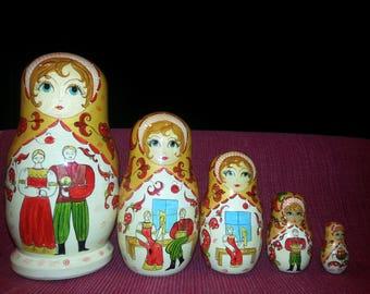 Signed Russian Nesting Dolls--1999