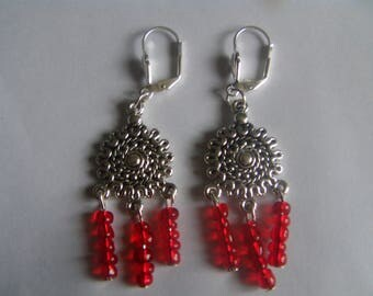Earrings silver connectors and red beads