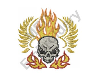 Skull Flames - Machine Embroidery Design