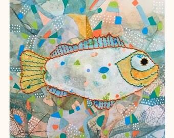 FISH Giclee with hand stitching, ,10 x 9 1/4, FX1