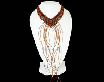 Leather Necklace. Fringed. Woven leather and crystals. Statement Brown Choker. Boho Chic ethnic Tribal. Bohemian style Jewelry. Handmade