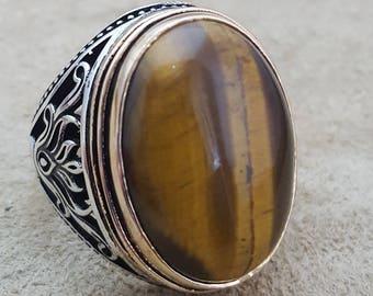 925K Sterling Silver Mens Ring With Tigereye Gemstone