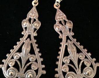 Vintage Design, Gold Dangle Earrings, Antiqued Brass, Statement Earrings, 2 Inch Drop Earrings, Filigree, Handmade, Gift Wrapped, Wedding