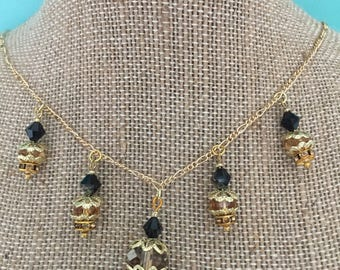 Gold Necklace / Crystal Necklace / Black Necklace / Beaded Necklace / Art Deco Necklace / Jewelry Set / Handmade / Bridesmaid Gift