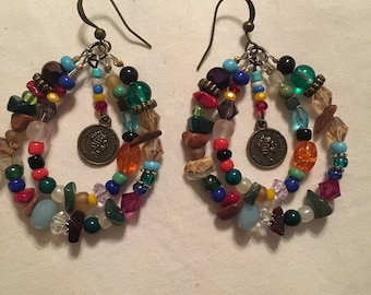 Earrings with mixed gemstone and coin