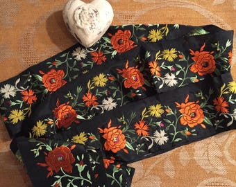 Elegant Black Embroidered Ribbon