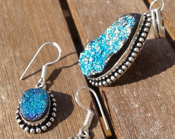 Titanium Druzy Pendant and Earrings