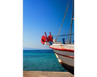 Fishing Boat Photo, Greek Island, Travel Photography, Fishing Boat Photo, Boat Print, Greece Lovers, Traditional Fishing Boat, Ar...