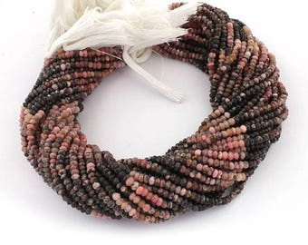 50% off 5 Strand Rhodonite 4mm Faceted Center Drill Rondelles,Rhodonite Gemstone Beads 13 Inches Long GR110